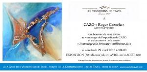 """Invitation exposition à la cuvée de Tavel dans le Gard """"Hommage à la peinture""""millésime 2015"""