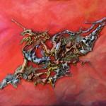 Galerie peinture CAZO artiste peintre abstrait de l'art tellurique - Tableau Comète rouge