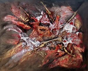 Galerie peinture CAZO artiste peintre abstrait de l'art tellurique - Tableau erruption