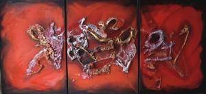 Galerie peinture CAZO artiste peintre de l'art tellurique - Tableau triptyque Jazz