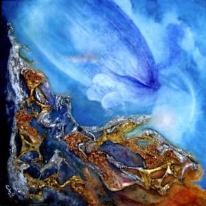Galerie peinture CAZO artiste peintre abstrait de l'art tellurique - Tableau Profondeur I