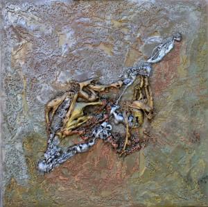 Galerie peinture CAZO artiste peintre abstrait de l'art tellurique - Tableau Metalico
