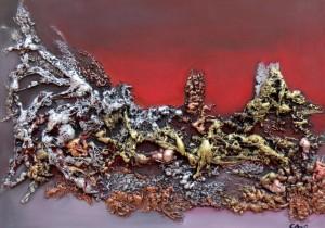 Oeuvre d'art PLANETE ROUGE tableau abstrait art tellurique - Galerie-peinture Universum-tellus