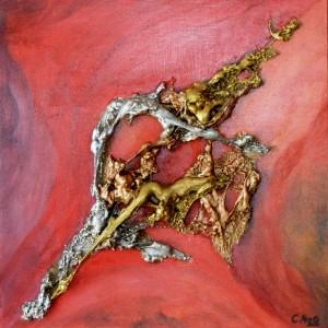 Galerie tableau abstrait art tellurique - Ciel rouge