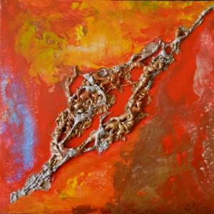Galerie tableau abstrait art tellurique - Terre brûlée